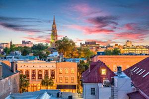 Charleston, South Carolina, USA historic French Quarter skyline.